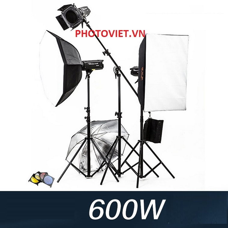 Bộ Đèn Kit Studio Hylow He600W-2 Photoviet