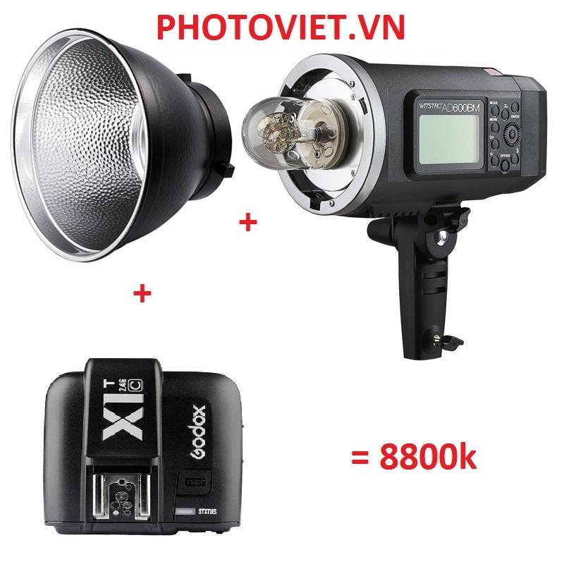 Combo Đèn Flash AD600 BM + Trigger X1 T + Chóa Reflector Chụp Ngoại Cảnh