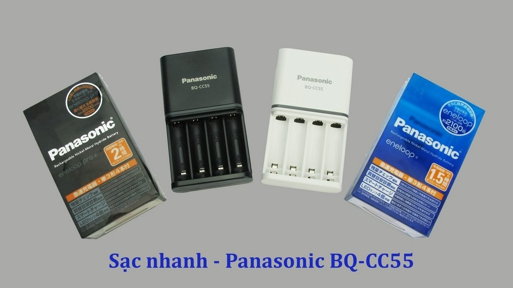 ComBo Pin + Sạc Panasonic Eneloop Pro BQ-CC55 Black Nội Địa Nhật