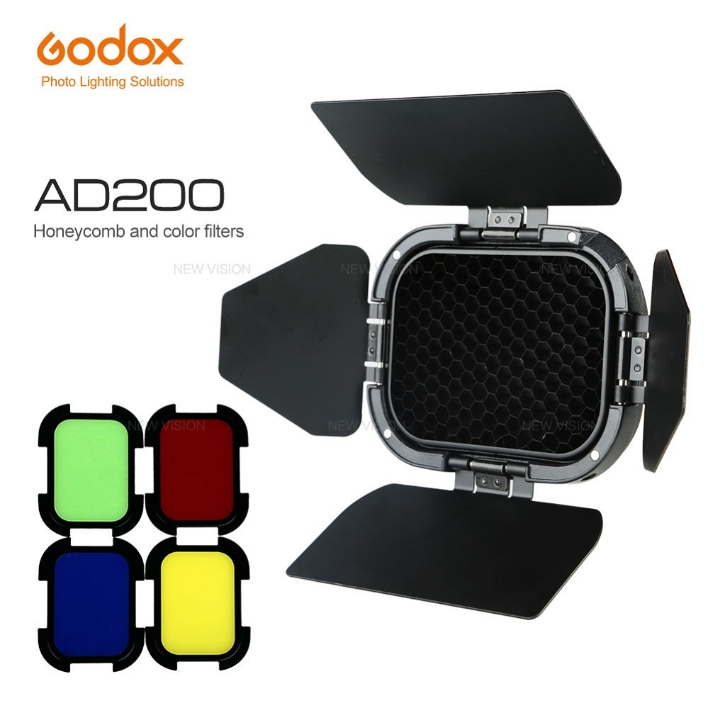 GODOX BD-07 FOR AD200 BARN DOOR HONEYCOMB GRID AND 4 COLOR GEL